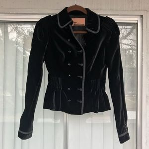 John Galliano Velour Fitted Pleated Short Jacket 4
